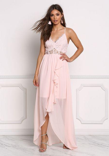 Blush Crochet Chiffon Ruffle Maxi Gown