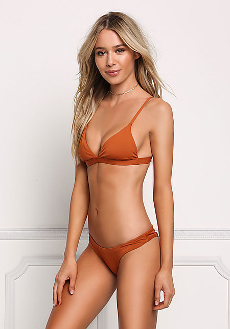 Rust Triangle Swimsuit Bikini Top