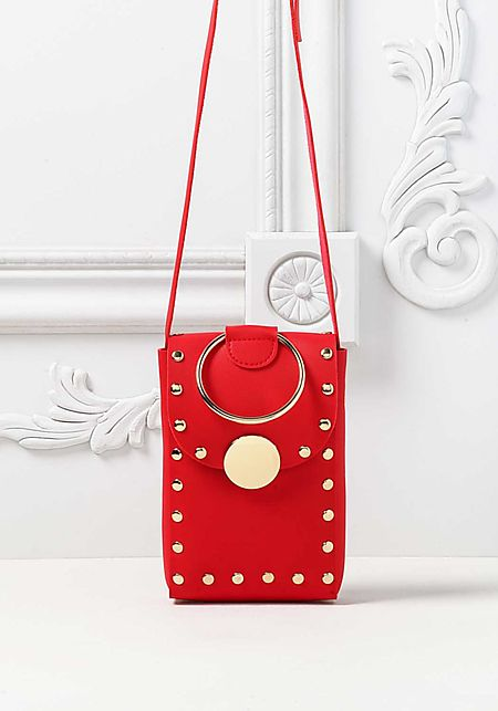 Red Leatherette Studded Mini Crossbody Bag