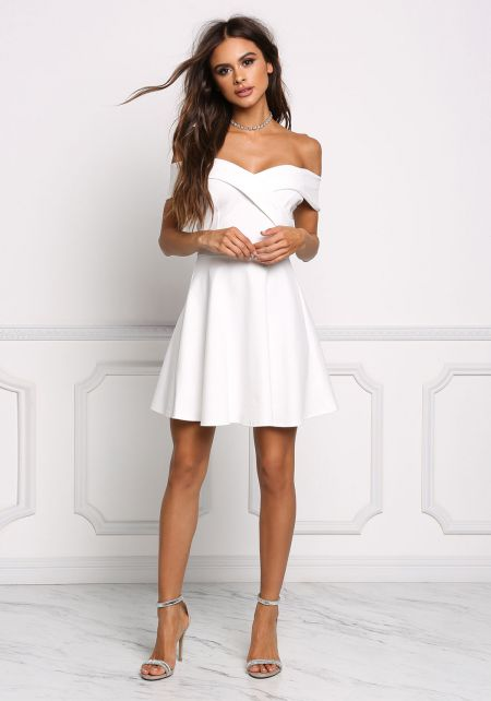 White Off Shoulder Flared Dress