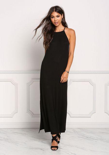 Black Ribbed Knit Maxi Slit Dress