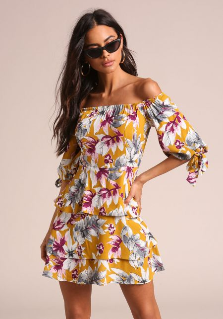 Mustard Floral Off Shoulder Tiered Flared Dress