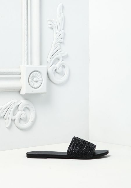 Black Leatherette Criss-Cross Slide Sandals