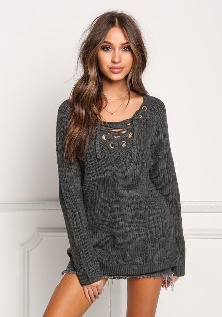 Charcoal Thick Knit Lace Up Tunic Sweater Top