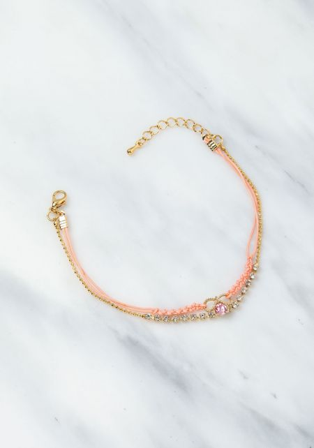 Peach Rhinestone Layered Bracelet