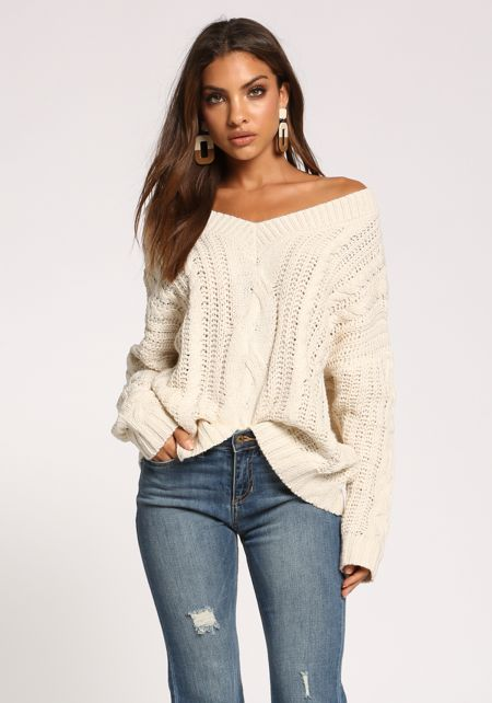 Cream Cable Knit Puff Sleeve Sweater Top