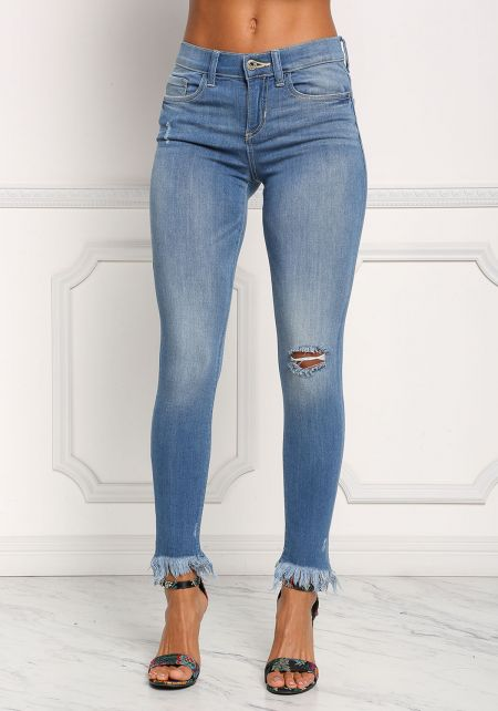 Denim Frayed Mid Rise Skinny Jeans