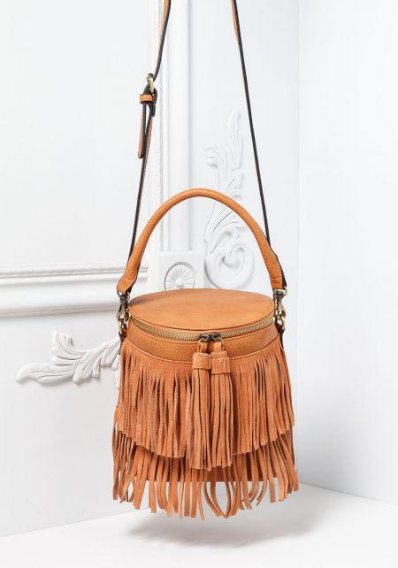 Tan Leatherette Fringe Bucket Bag