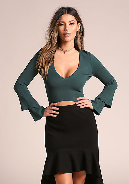 Hunter Green Tiered Bell Sleeve Crop Top