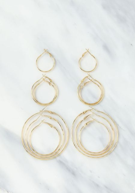 Gold Assorted Hoops Set
