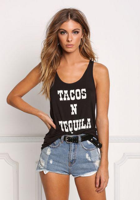 Black Tacos N' Tequila Tank Top
