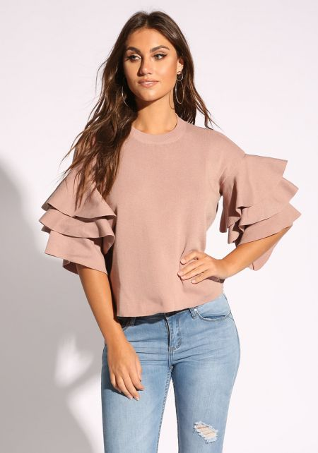 Mauve Tiered Bell Sleeve Blouse