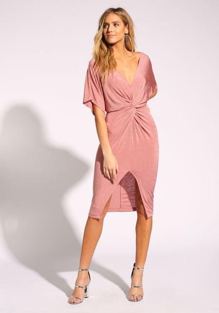 Mauve Twisted Slit Bodycon Dress