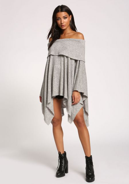 Heather Grey Fold Over Off Shoulder Poncho Sweater