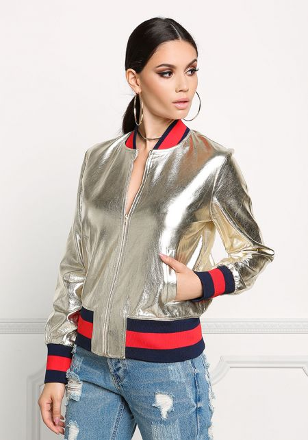 Gold Metallic Stripe Bomber Jacket