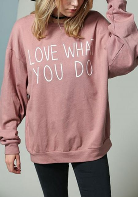 Mauve Love What You Do Puff Sleeve Pullover Sweate