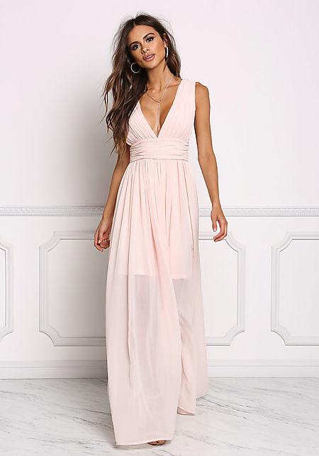 Blush Chiffon Plunge V Maxi Gown