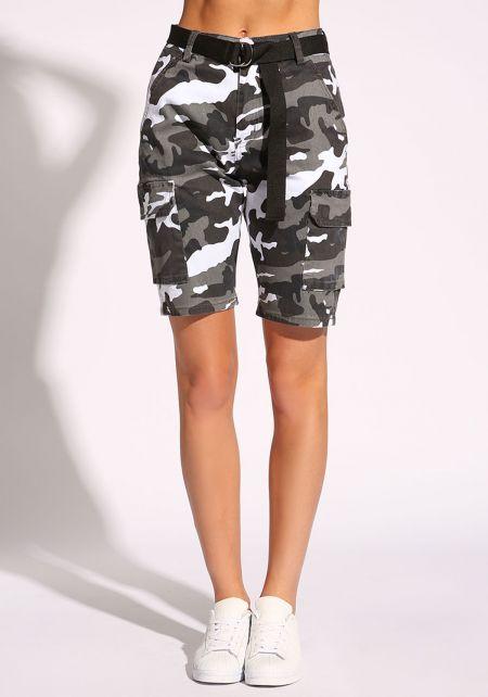Grey Belted Camo Bermuda Shorts