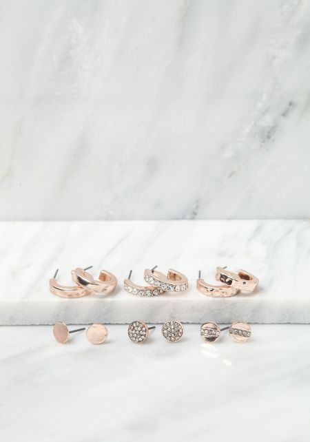 Rose Gold Assorted Earrings Set