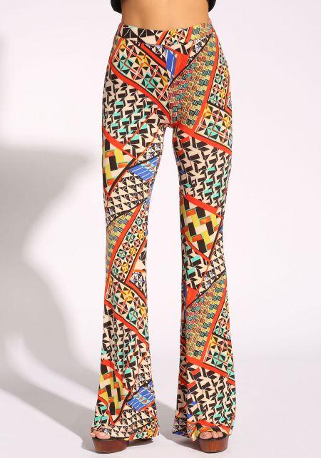 Multi Geometric Print Bell Bottoms Pants