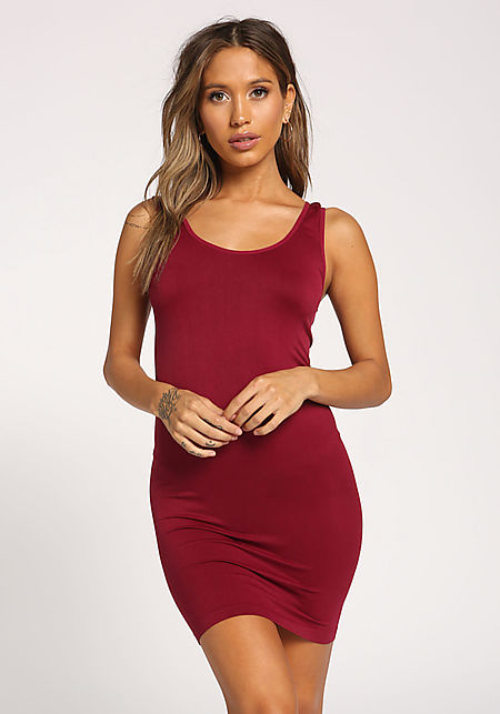 Burgundy Scoop Seamless Tank Dress