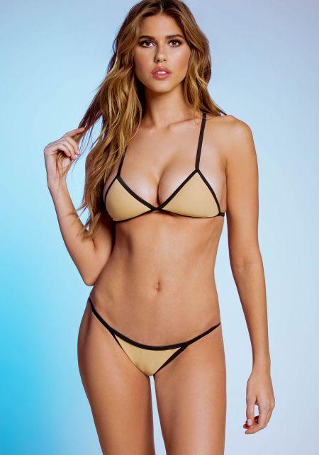 Nude X Strap Triangle Bikini Set