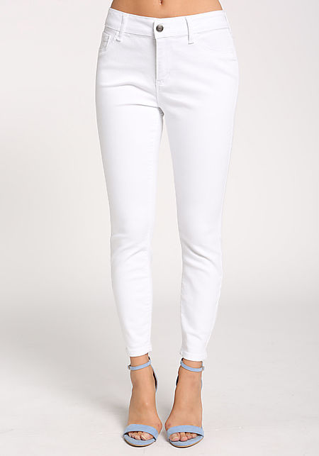 White Solid Mid Rise Skinny Jeans