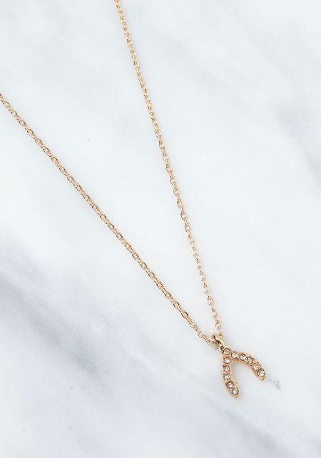 Gold Rhinestone Wishbone Delicate Necklace