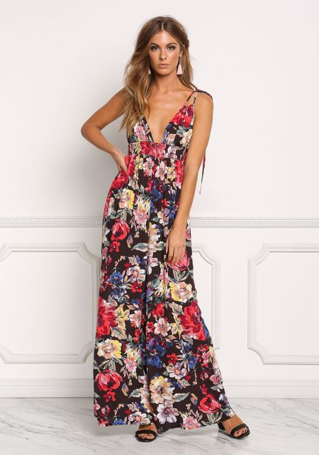 Multi Floral Crepe Plunge Strappy Jumpsuit
