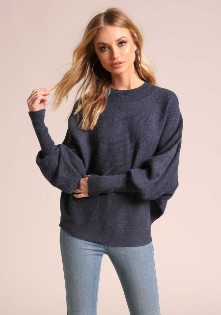 Dark Blue Ribbed Knit Dolman Sweater Top