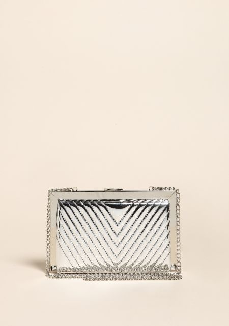 Silver Chrome Leatherette Embossed Clutch