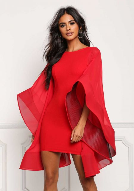 Red Voluminous Bell Sleeve Low Back Bodycon Dress