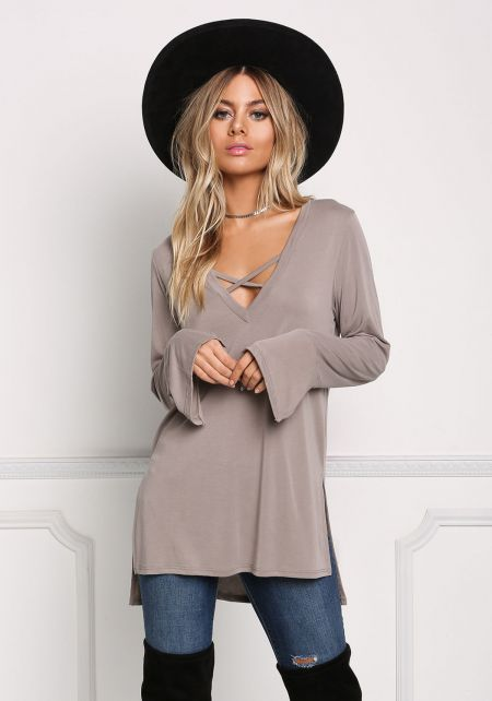 Taupe Cross Strap Hi-Lo Knit Top