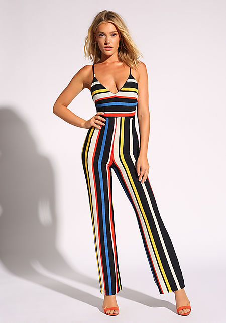 175fecc90a6 Multi Stripe Plunge Cross Strap Jumpsuit ...