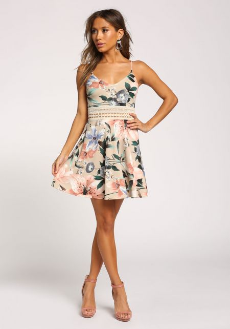 Taupe Floral Cross Strap Flared Dress