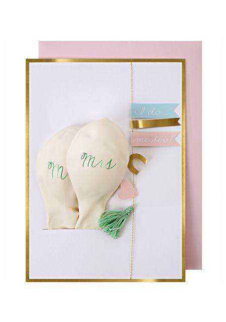 Wedding Mr & Mrs Balloon Card