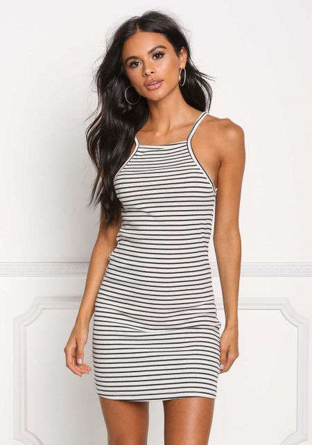 Black and White Stripe Ribbed Knit Tank Dress