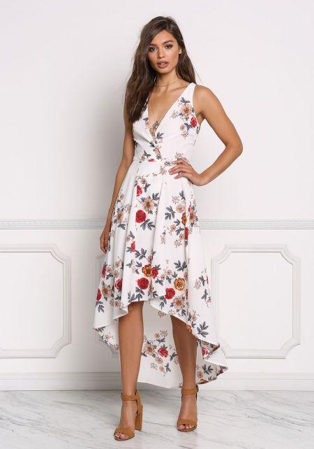 Ivory Wrap Hi-Lo Floral Midi Dress