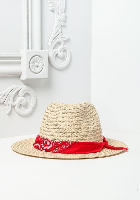 Red Bandana Straw Fedora