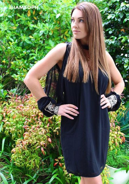 Black Slit Beaded Sleeve Cut Out Shift Dress
