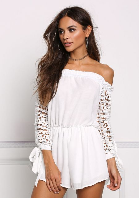 White Off Shoulder Crochet Sleeve Romper