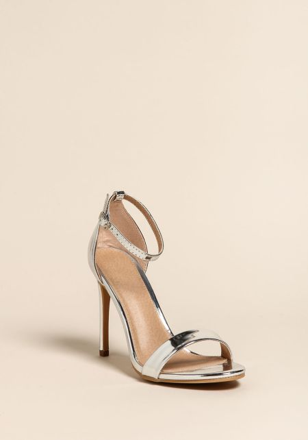 Silver Chrome Ankle Strap Stiletto Heels
