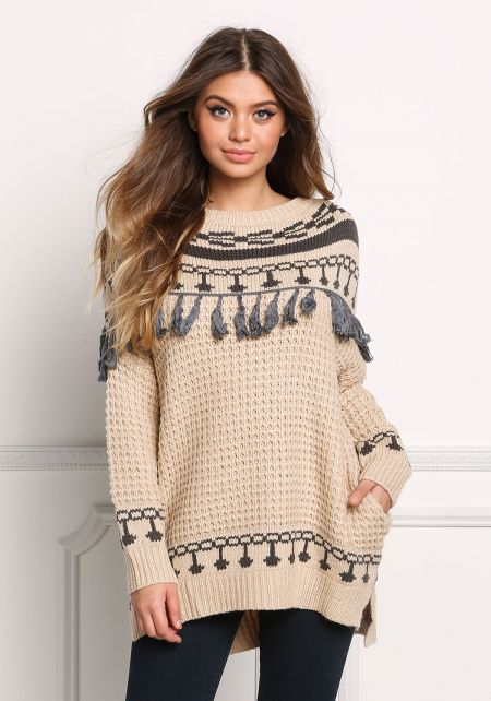 Taupe Tassel Trim Thick Knit Pocket Sweater Top