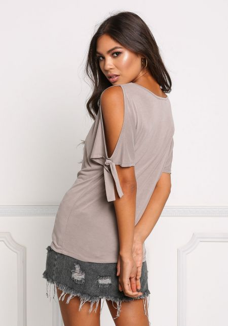 Taupe Cold Shoulder Tied Knit Top