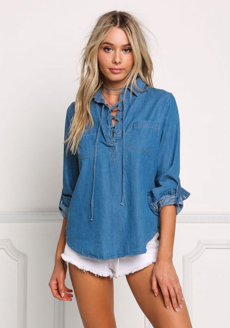 Denim Collared Lace Up Blouse