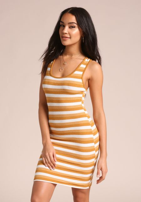 Mustard Stripe Racerback Dress