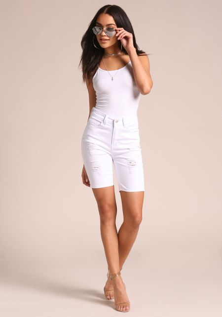 White Distressed Denim Bermuda Shorts