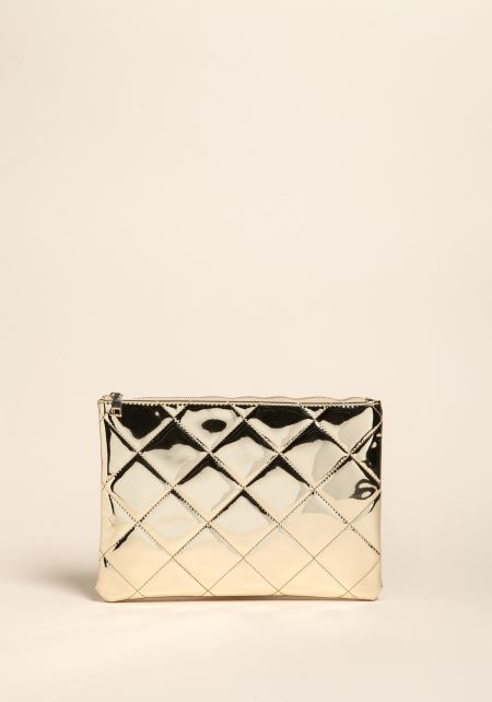 Gold Chrome Quilted Clutch