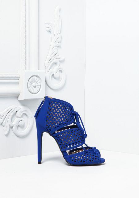 Royal Blue Suedette Laser Cut Lace Up Heels