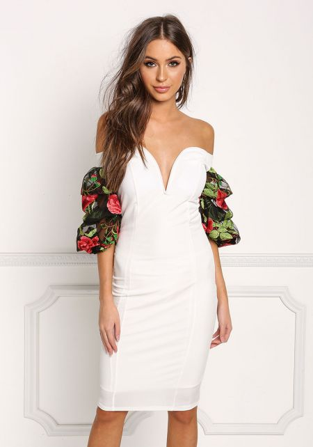White Floral Embroidered Sleeve Velvet Dress